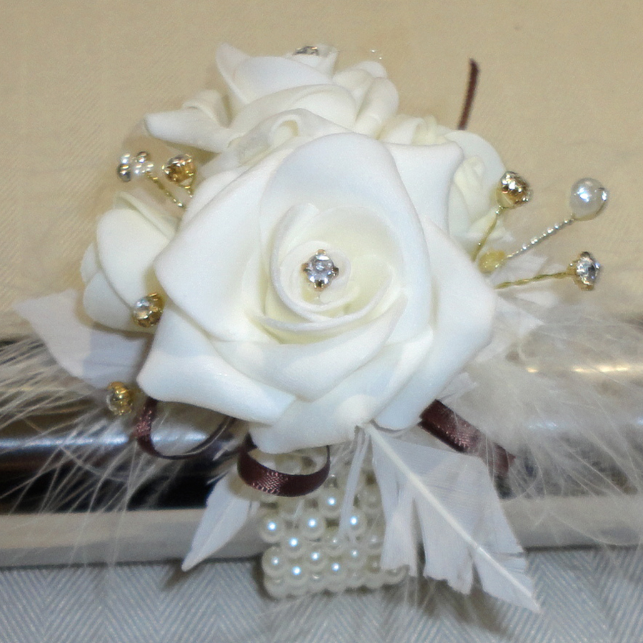 Feather & Rose Wrist Corsage