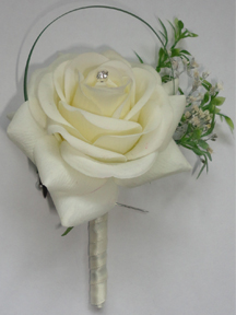 Beautiful Lifelike Fresh Touch Rose Buttonhole with Diamante