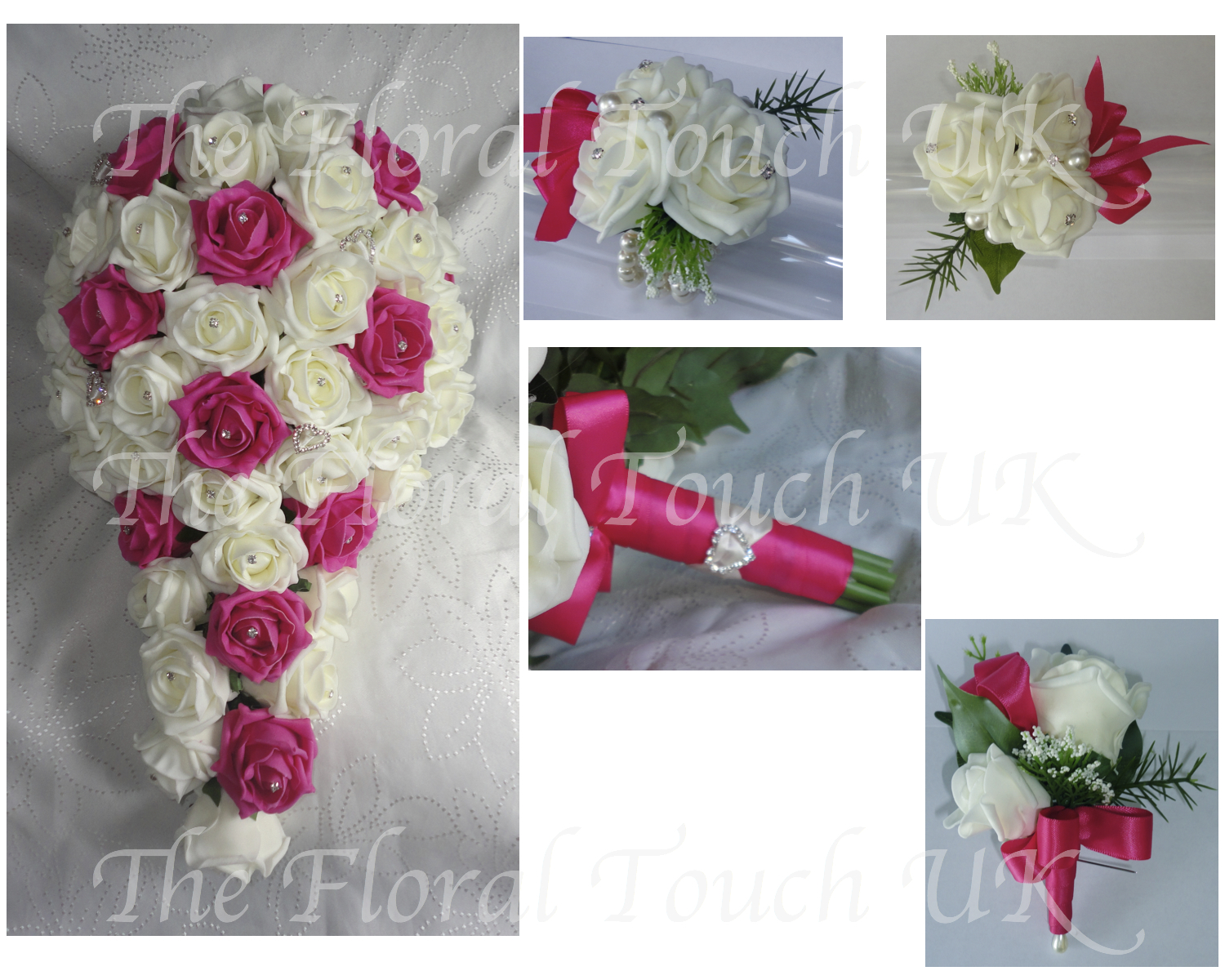 Fuchsia Ivory Cascading Bridal Bouquet With Diamante Hearts