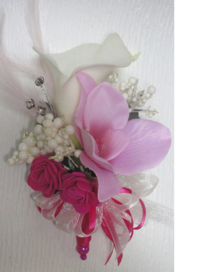 Real Touch Ivory Calla Lily & Pink Orchid Corsage