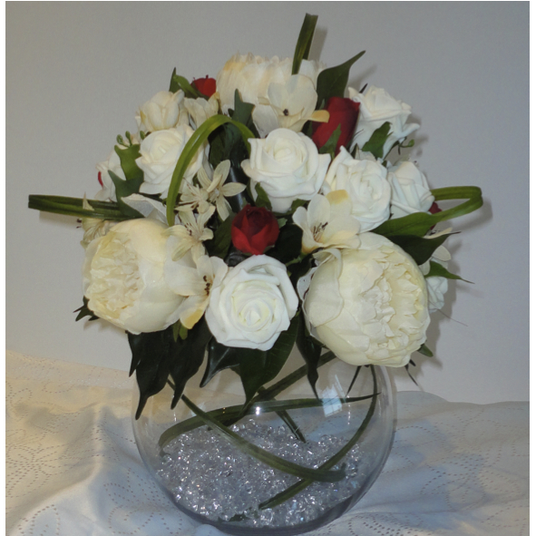 Peony & Rose Bubble Bowl, Fish Bowl Wedding Centrepiece