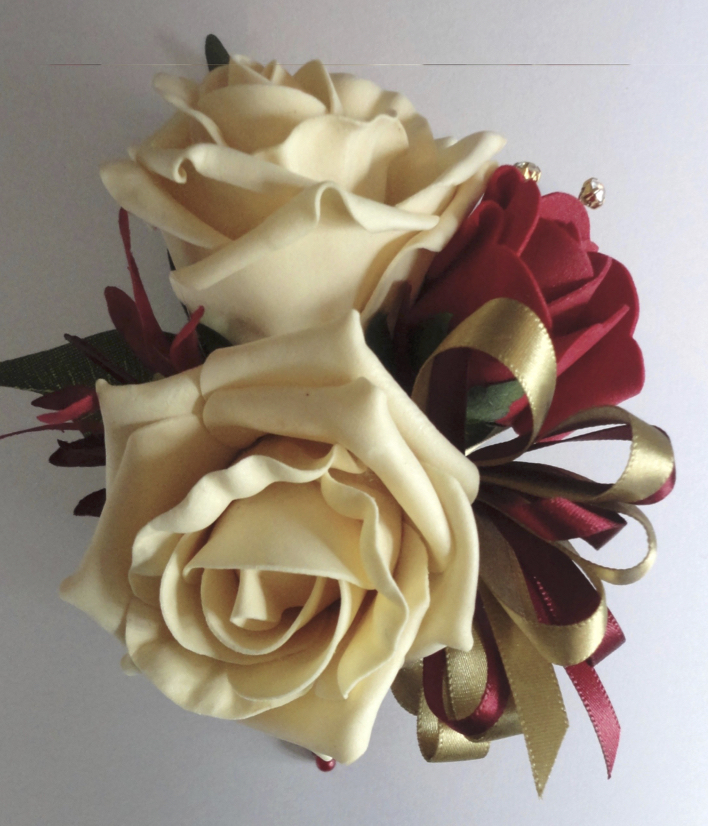 Pale Gold & Burgundy Rose & Bud Corsage with Gold Diamante Spray