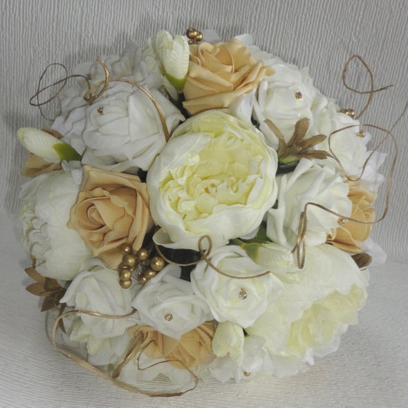 Gold & Ivory Peony & Rose Bridal Bouquet