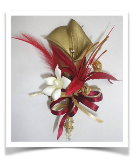 Red & Gold Calla Lily & Stephanotis Corsage