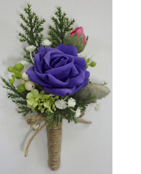 Rustic Style Purple Rose & Mixed Foliage Buttonhole