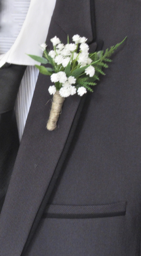 Gypsophila & rose Buttonhole with Twine