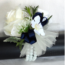 Ivory Wrist Corsage With Navy Bow