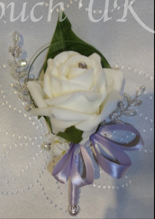 Ivory Rose & Iridescent Gem Corsage Choice of Ribbon Colour