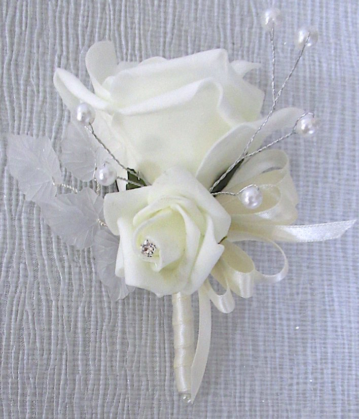 Rose & Pearl & Diamante Corsage with Beautiful Acrylic Lea