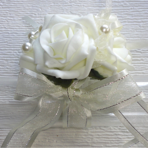 Ivory Rose & Pearl Rose Wrist Corsage