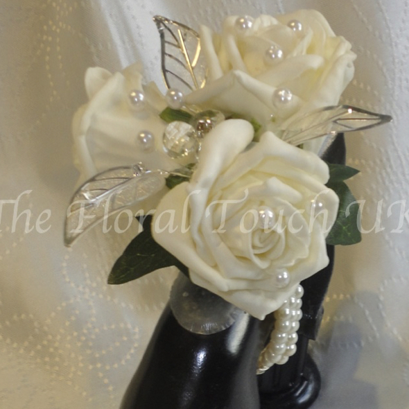 Ivory Rose & Silver Leaf diamante & pearl Wrist Corsage