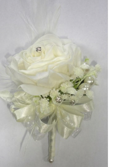 Fresh Touch Ivory Rose & Feather Corsage