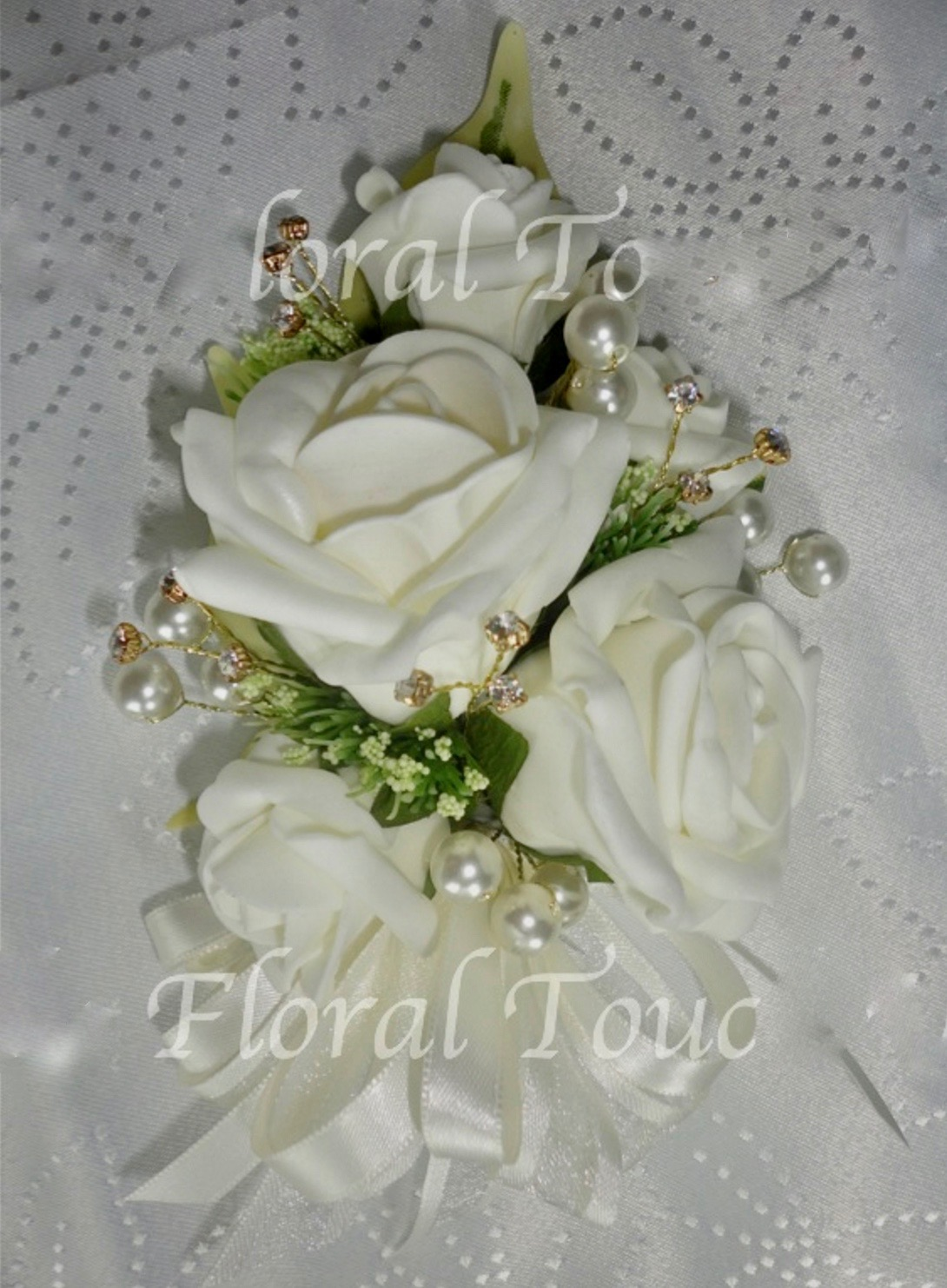 Ivory Rose & Gold Diamante Corsage
