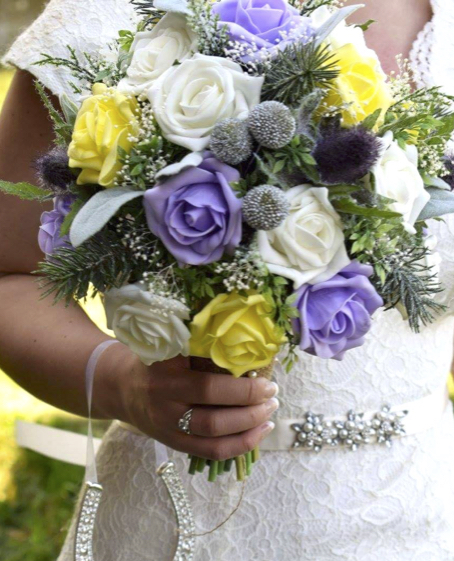 Lavender Rose Gypsophila Bridal Bouquet: Silk Wedding Flowers