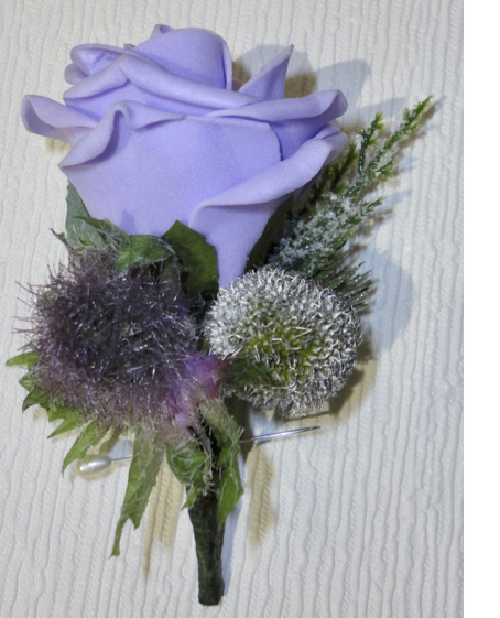 Lavender Rose With Thistle & Silver Brunia Berry Buttonhole