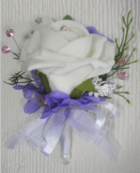 Lilac, White & Pink Corsage With Diamante Butterfly