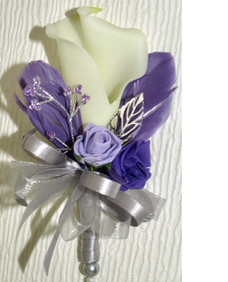 Real Touch Calla Lily With Lilac Feathers