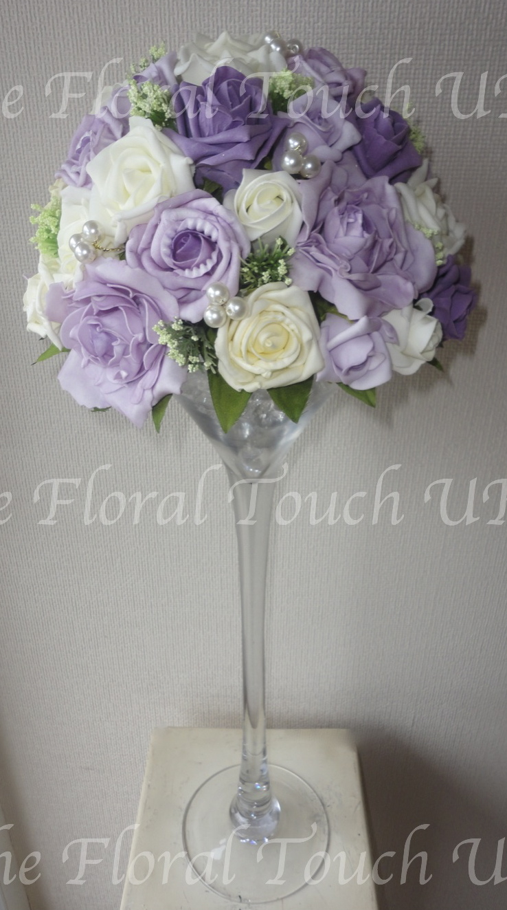 Vintage Style Rose Martini Glass Wedding Centrepiece