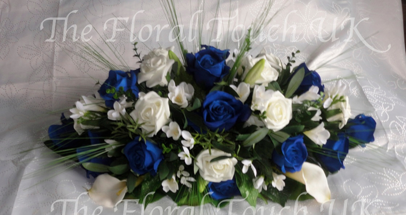 Midnight Blue & Ivory Rose Wedding Centrepiece