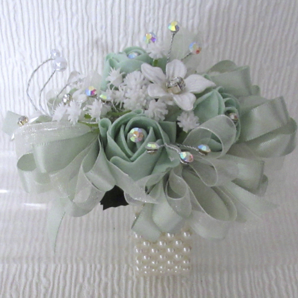Mint Rose Bud & Crystal Corsage