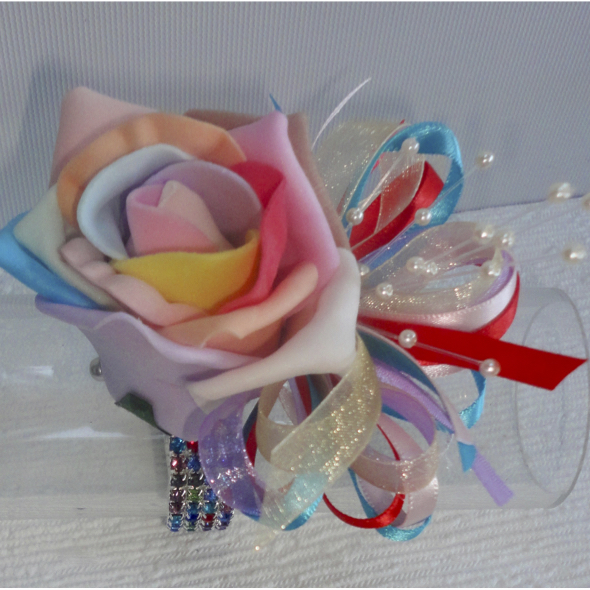 Rainbow Multi Coloured Rose Wrist Corsage