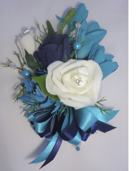Navy & Turquoise Corsage