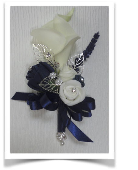 Navy Blue & Pale Ivory Corsage