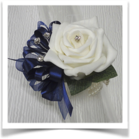 Ivory & Navy Prom Corsage