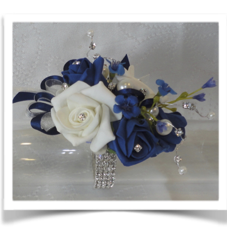 Navy Blue & Ivory Bling Corsage