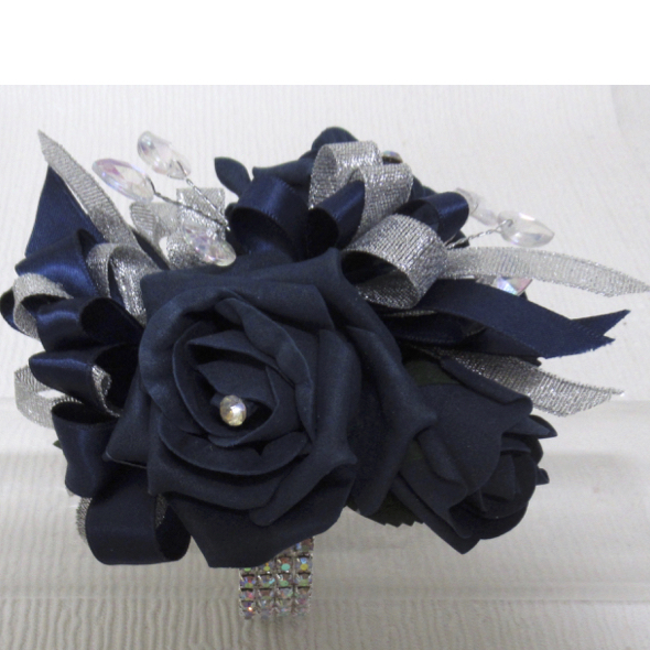 Navy Blue & Silver Wrist Corsage with Heart Gem Spray Deta