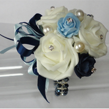 Navy Blue, Ivory & Baby Blue Wrist Corsage