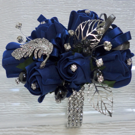 Navy Blue Bling Wrist Corsage
