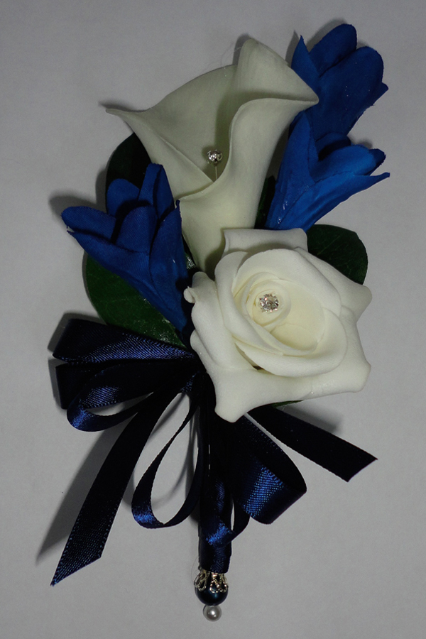 Real Touch Calla Lily with Midnight blue Freesia