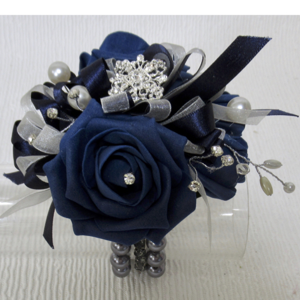 Dark Navy Blue Rose Wrist Corsage