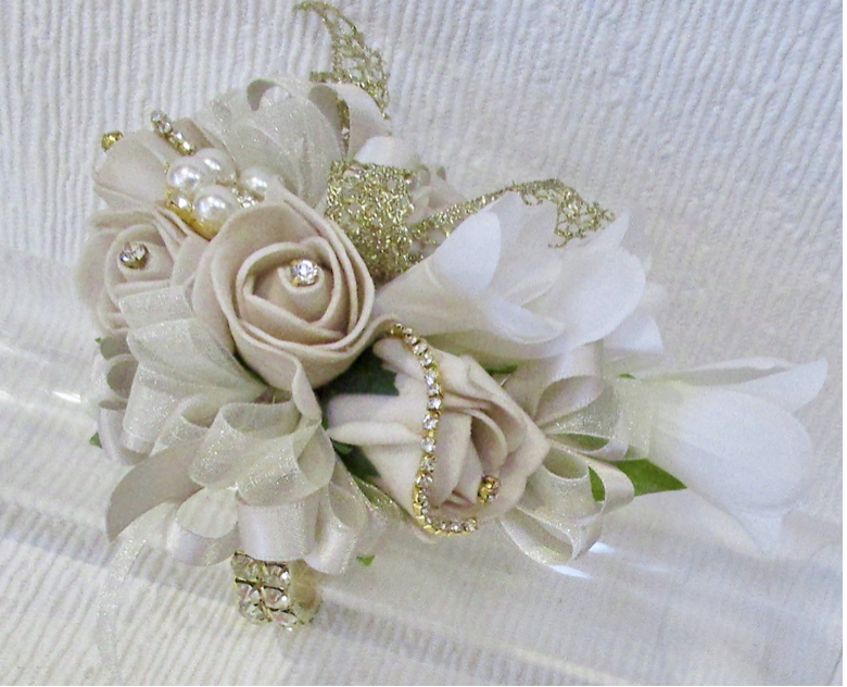 Nude, Gold & White Rose Bud & Freesia Wrist Corsage