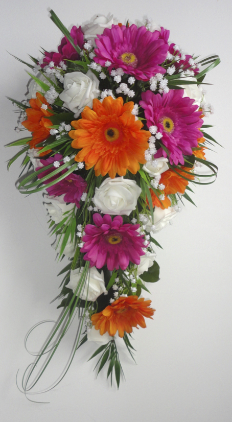 Orange, Cerise and Ivory Gerbera & Rose Wedding Bouquet
