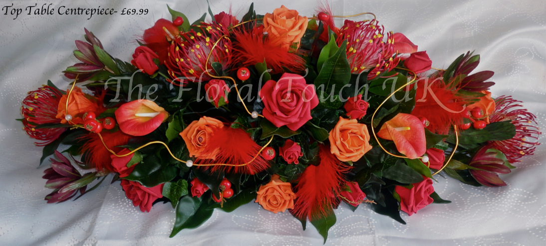 Orange & Red Tropical Top Table Wedding Centrepiece
