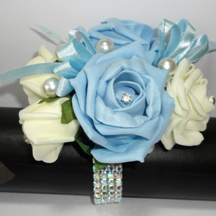 Pale Blue & Cream Wrist Corsage