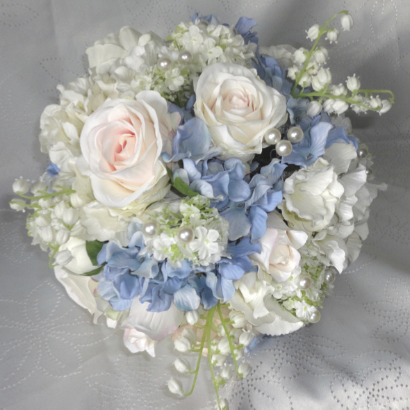 Silk wedding bouquets the floral touch uk south yorkshire blush pink blue wedding bouquet absolutely gorgeous mix of pale blue ivory hydrangea ivory peonies ivory pearled snowball silk blush centred roses mightylinksfo