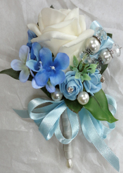 Blue & Ivory Pin On Corsage with pearls & Crystals
