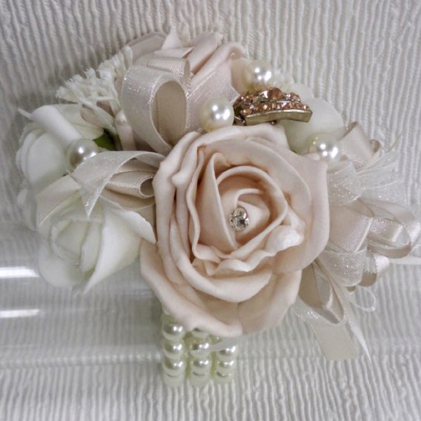 Pale Blush & Ivory Wrist Corsage With Rose Gold Embellishment