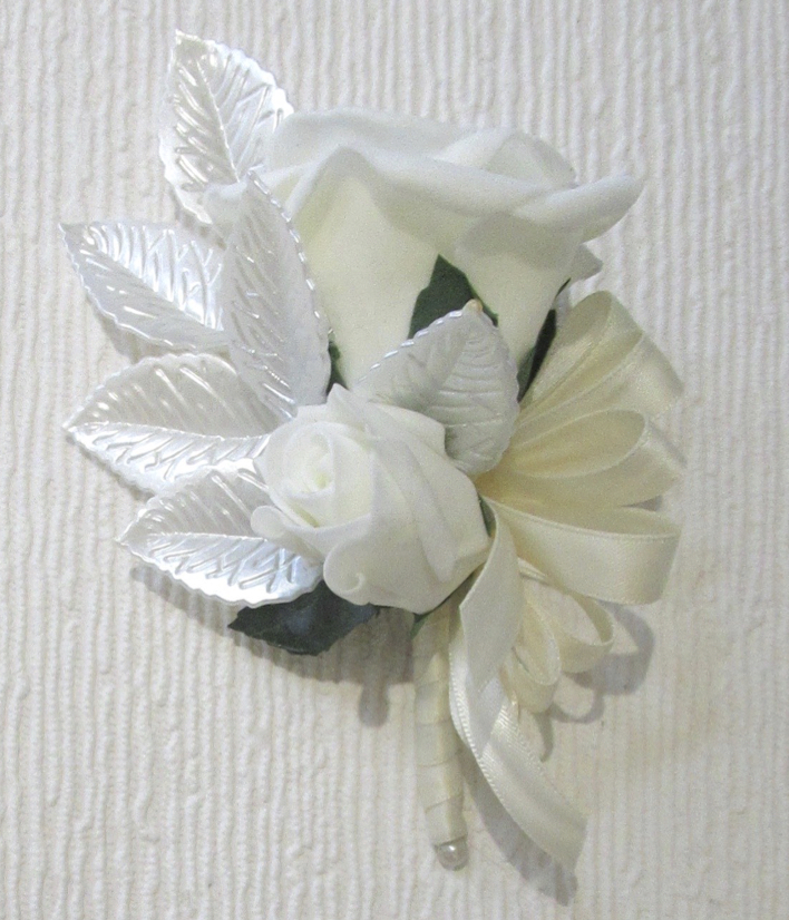 Rose Corsage with Pearl Acrylic Leaf Detail
