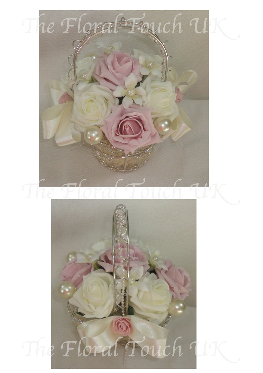 Baskets for flower girls the floral touch uk vintage flower girl silver wire flower girl basket izmirmasajfo