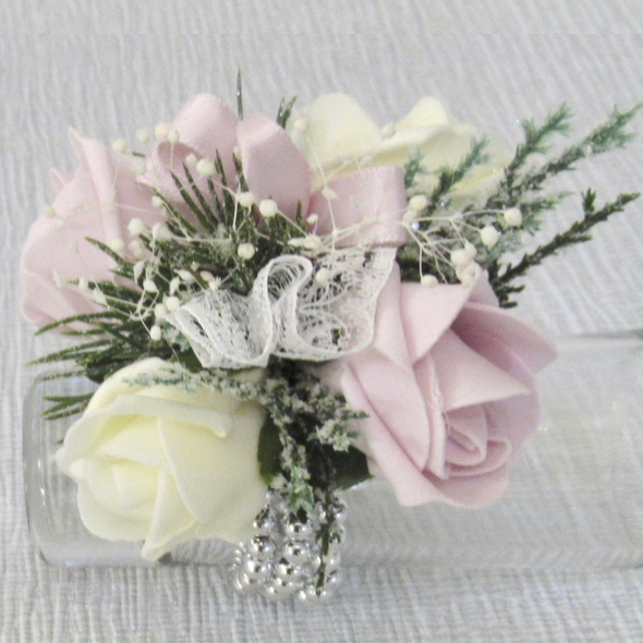 Pink & Cream Flower Girl Wrist Corsage