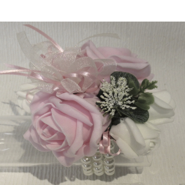 Pink & Ivory Wrist Corsage With Foliage