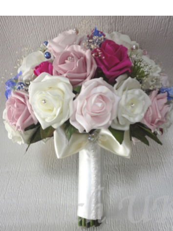 Pink, Blue & Ivory Bridal Bouquet