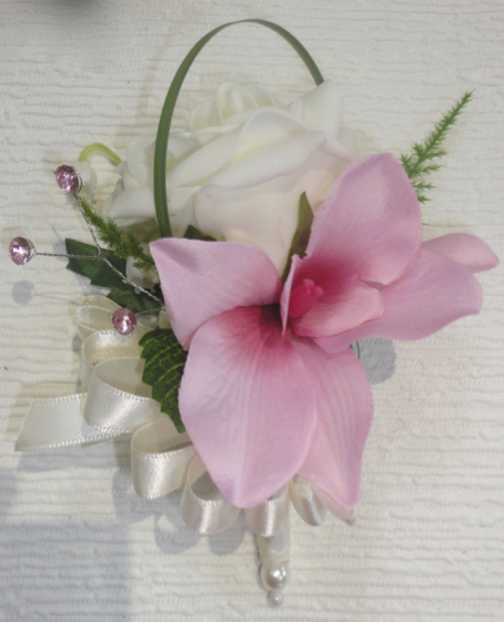 Pink Orchid & Ivory Rose Corsage
