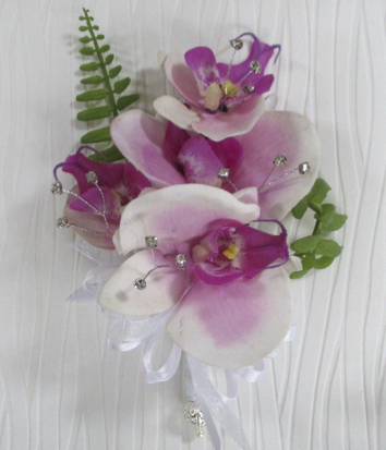Pink Orchid Corsage with Real Touch Foliage