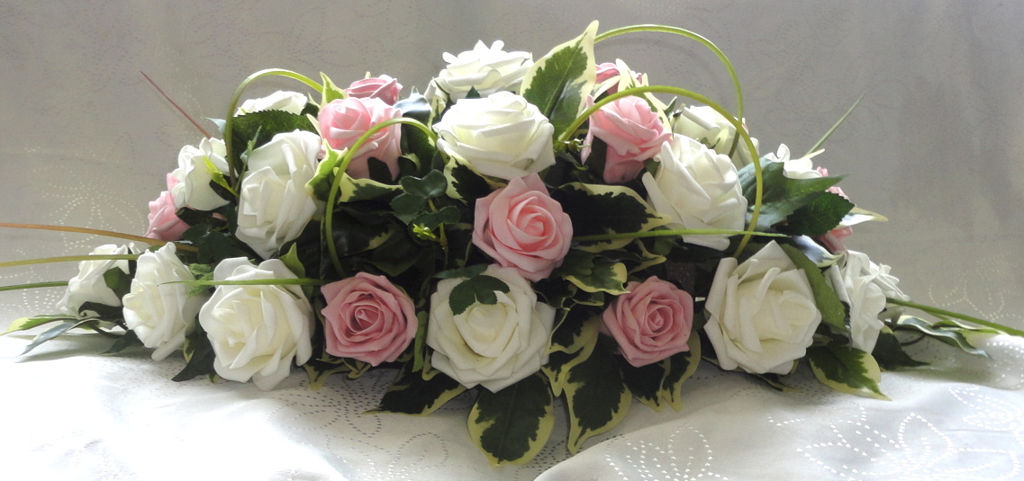Pink & Ivory Rose Wedding Centrepiece
