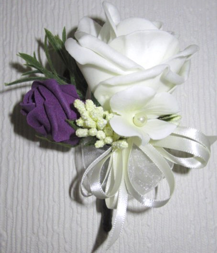 Plum & Ivory Rose & Bud Corsage with Stephanotis